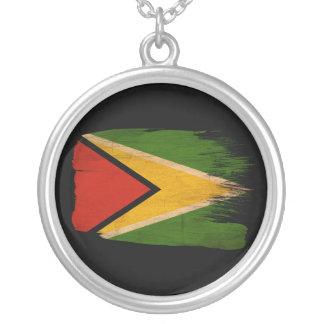 Guyana Flag Round Pendant Necklace