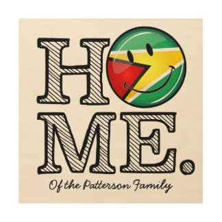 Guyana Flag Smiley House Warmer Wood Print