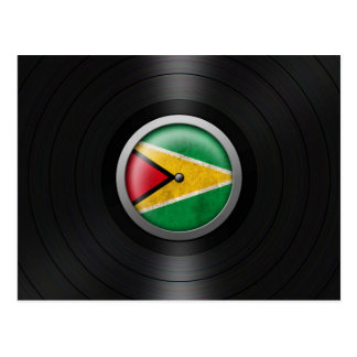 Guyana Flag Vinyl Record Album Graphic Postcard