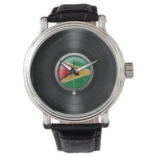 Guyana Flag Vinyl Record Album Graphic Wrist Watch