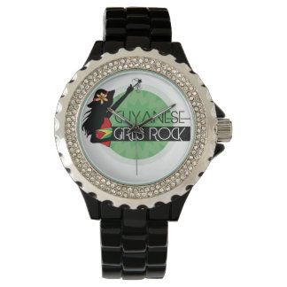 Guyana Girl Black Rhinestone eWatch Wristwatch