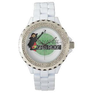 Guyana Girl White Rhinestone eWatch Wristwatch