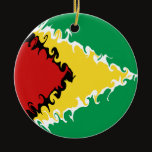 Guyana Gnarly Flag Ceramic Ornament