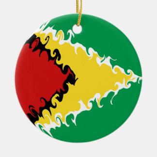Guyana Gnarly Flag Double-Sided Ceramic Round Christmas Ornament