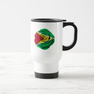 Guyana Rose Flag on Black Travel Mug