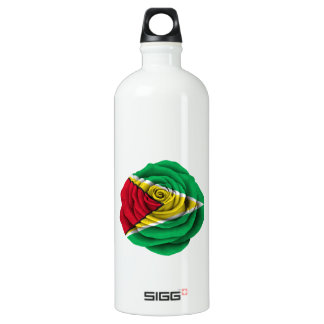 Guyana Rose Flag on Black Water Bottle
