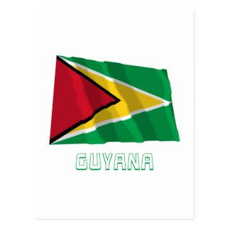 Guyana Waving Flag with Name Postcard