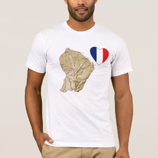 Guyane Flag Heart and Map T-Shirt