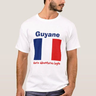 Guyane Flag + Map + Text T-Shirt