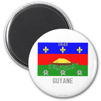 Guyane flag with name 2 inch round magnet