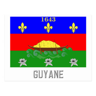 Guyane flag with name postcard