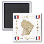 Guyane Map + Flags Magnet
