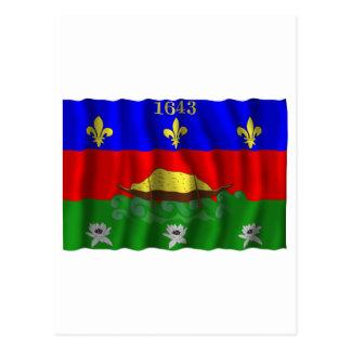 Guyane waving flag postcard