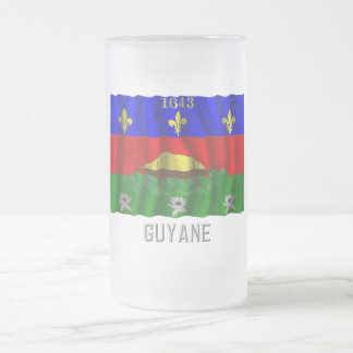 Guyane waving flag with name frosted glass beer mug
