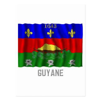 Guyane waving flag with name postcard