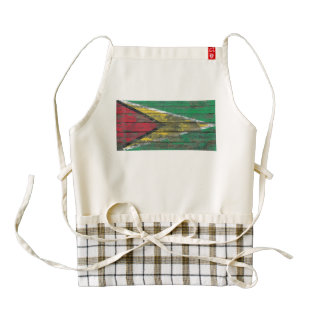 Guyanese Flag on Rough Wood Boards Effect Zazzle HEART Apron