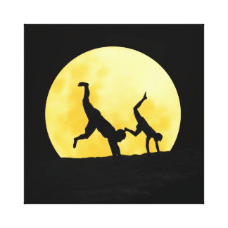 Guys and the full moon canvas print