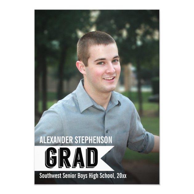 Guys Custom Banner Photo Graduation Invitation