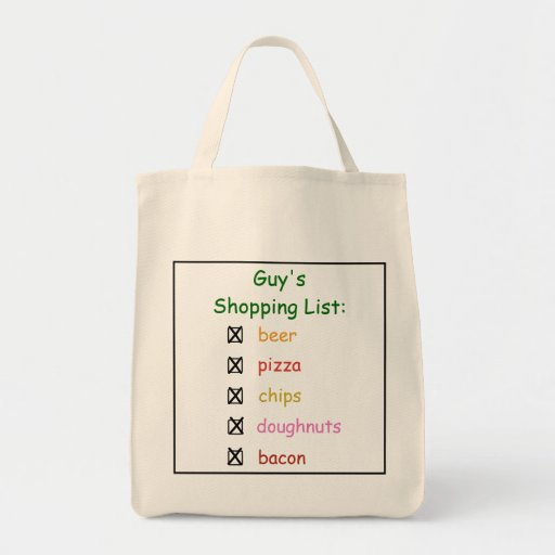 Guy's Funny Grocery Shopping List Bag