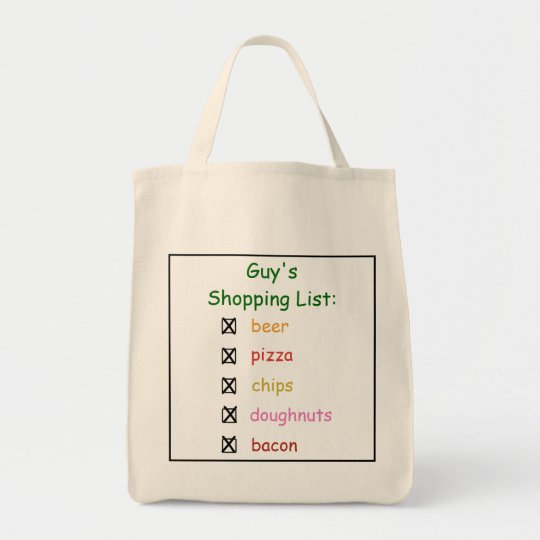 guy u0026 39 s funny grocery shopping list bag