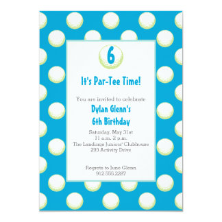 Guys Golf Ball Party Invite- Lime Green and Blue Card