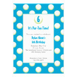 Guys Golf Ball Party Invite- Lime Green and Blue Custom Announcement