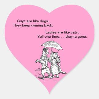 Guys Like Dogs - Cats Like Ladies Humor Heart Sticker