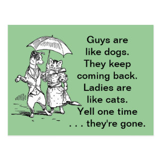 Guys Like Dogs - Cats Like Ladies Humor Postcard