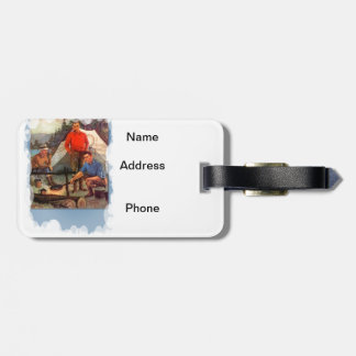 Guys only camping trip luggage tag