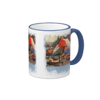 Guys only camping trip ringer coffee mug