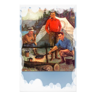Guys only camping trip stationery paper