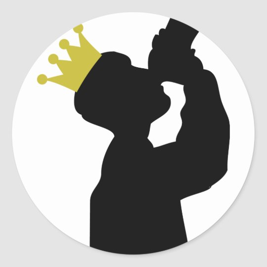 guzzler with crown icon classic round sticker