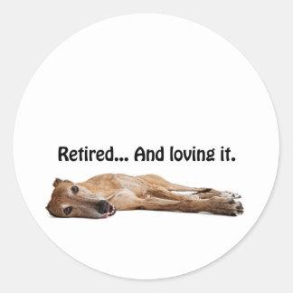 GVV Greyhound Retired and Loving It Classic Round Sticker