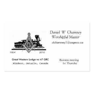 GW47, Great Western Lodge no 47 GRC, Daniel  W ... Double-Sided Standard Business Cards (Pack Of 100)