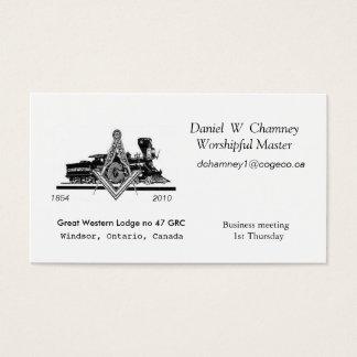 GW47, Great Western Lodge no 47 GRC, Daniel  W ... Business Card
