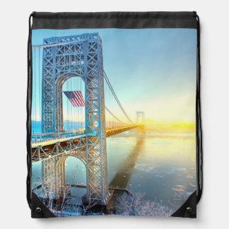 GWB connecting Fort Lee NJ and Manhattan NYPlus Drawstring Bag