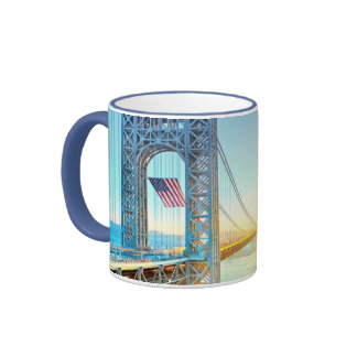 GWB connecting Fort Lee NJ and Manhattan NYPlus Ringer Mug