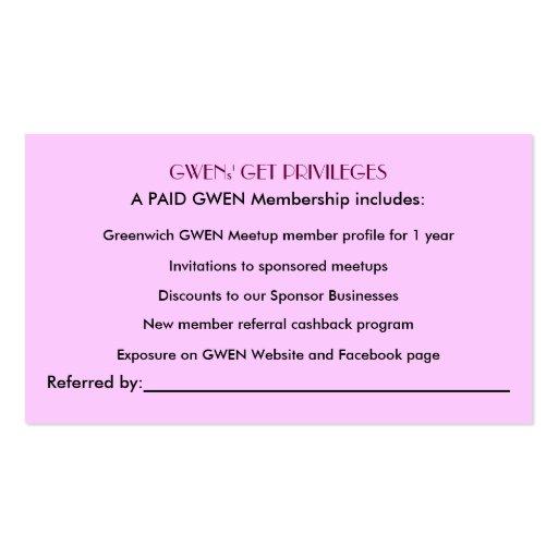 GWEN member referral card fancy font Double Sided