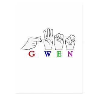 GWEN NAME FINGERSPELLED ASL HAND SIGN POSTCARD