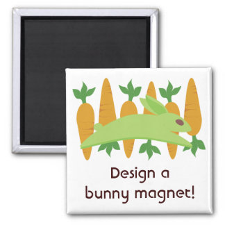 Gwennie The Bun: Gwen With Carrots 2 Inch Square Magnet