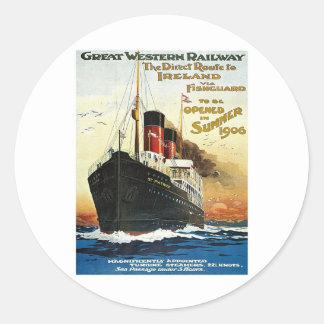 GWR Travel to Ireland Poster Classic Round Sticker
