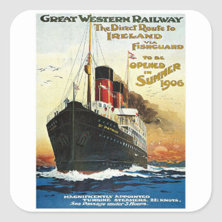 GWR Travel to Ireland Poster Square Sticker