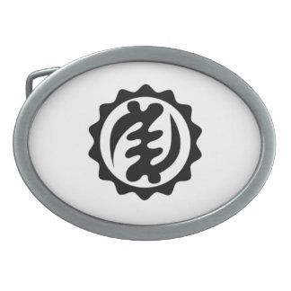 Gye Nyame African design/ Adinkra/ Black Belt Oval Belt Buckle