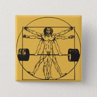 Gym Barbell Deadlift - Vitruvian Man Pinback Button