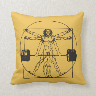 Gym Barbell Deadlift - Vitruvian Man Throw Pillow