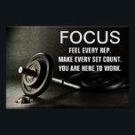 """Gym Barbell Workout Motivation Quote Poster<br><div class=""""desc"""">Get motivated or motivate others. Perfect poster for your gym.</div>"""