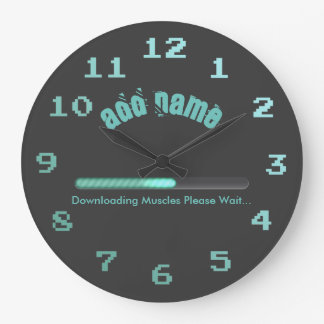 Gym Bodybuilder Loading Muscles Personalized Large Clock