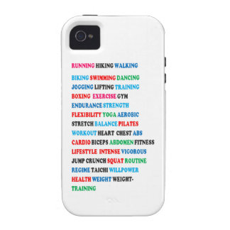 GYM EXERCISE Tag Words RUNNING HIKING WALKING Case-Mate iPhone 4 Covers