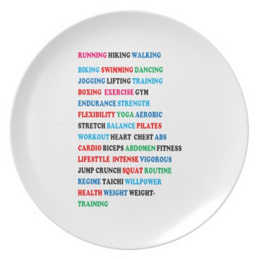 GYM EXERCISE Tag Words RUNNING HIKING WALKING Dinner Plates