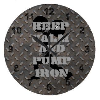 GYM HOME GYM Keep Calm and Pump iron Fitness Wallclocks